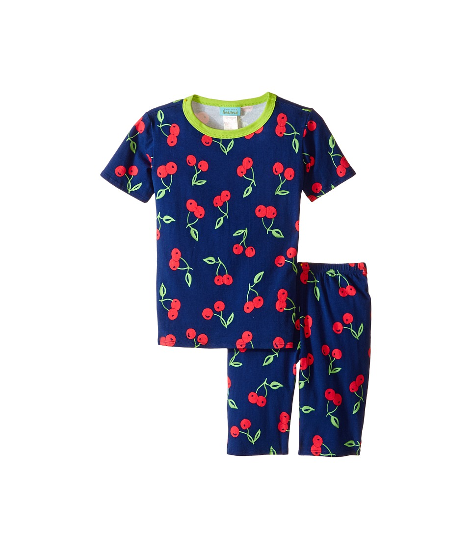 BedHead Kids - Tweens Short Sleeve Two-Piece Shorts Set (Big Kids) (Navy Cherry Pick) Girl