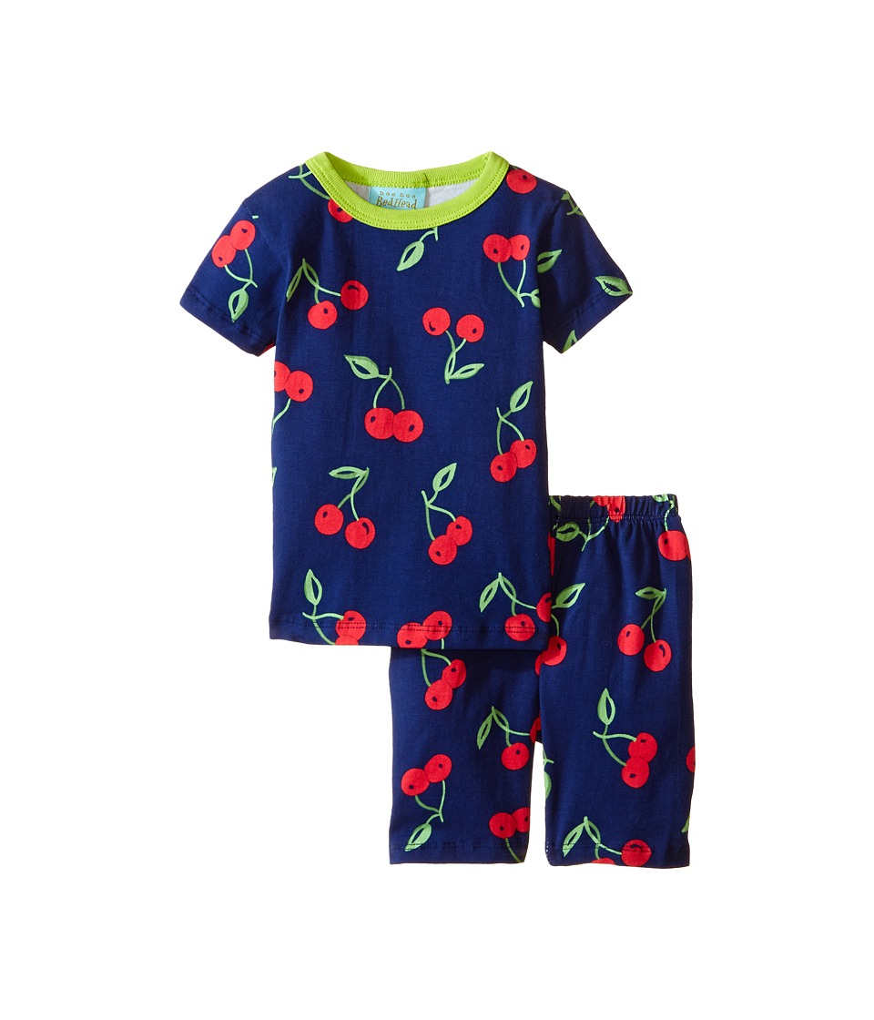 BedHead Kids - Short Sleeve Two-Piece Shorts Set (Toddler/Little Kids) (Navy Cherry Pick) Girl's Pajama Sets