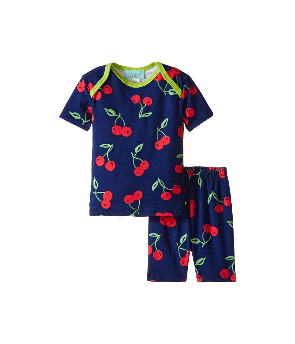 BedHead Kids - Short Sleeve Two-Piece Shorts Set (Infant) (Navy Cherry Pick) Girl