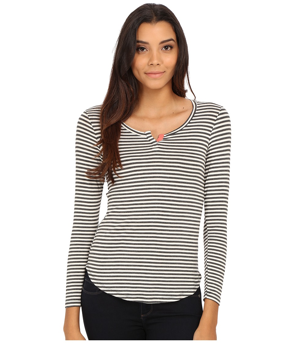 Pink Rose - Long Sleeve Henley Stripe Knit Top (Heather Charcoal/Cream/Rosebud) Women