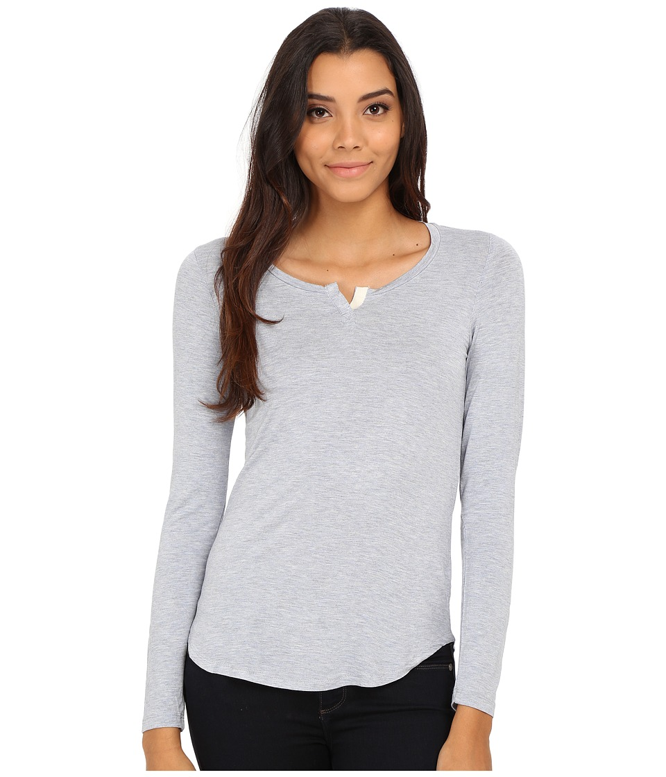 Pink Rose - Long Sleeve Henley Stripe Knit Top (Heather Angel Blue/Neutral) Women's T Shirt