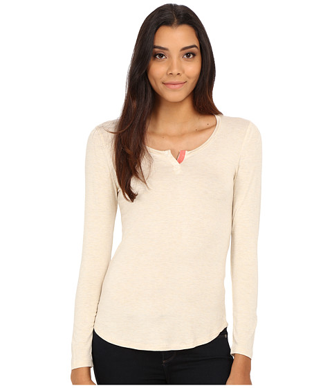 Pink Rose - Long Sleeve Henley Stripe Knit Top (Heather Oatmeal/Rosebud) Women