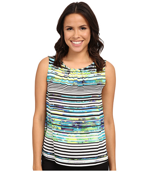 Nine West - Printed Rio Short Sleeve Pintuck Neck Cami (Jade/Ivory Multi) Women's Blouse
