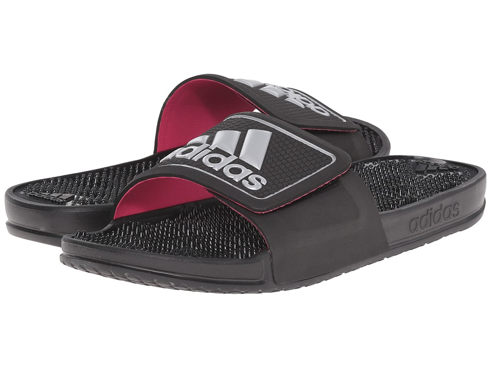 adidas - adissage 2.0 Logo (Black/Silver Metallic/Shock Pink) Women's Slide Shoes