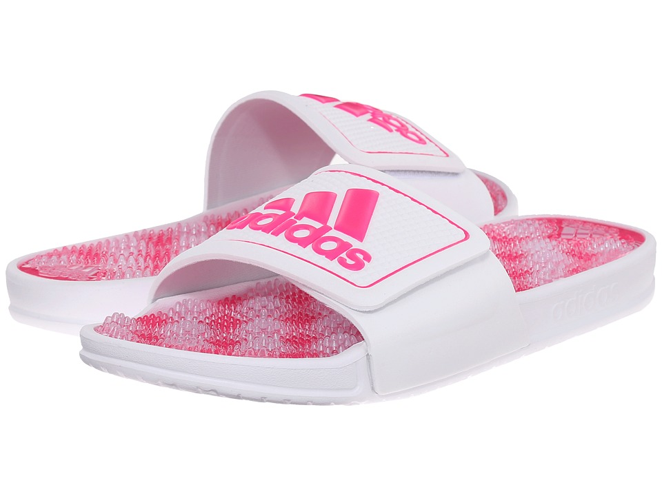 adidas - adissage 2.0 Logo (White/Shock Pink/White(Graphic)) Women's Slide Shoes