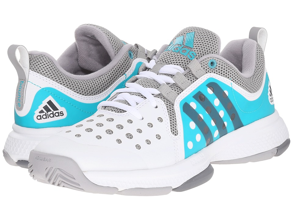 adidas - Barricade Classic Bounce (White/Night Metallic/Shock Green) Women's Running Shoes