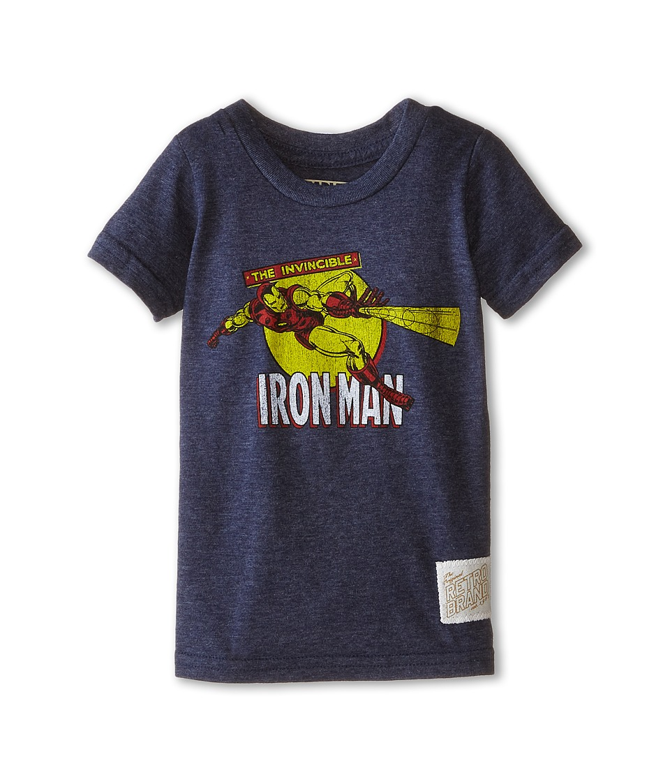 The Original Retro Brand Kids - Iron Man Short Sleeve Tee (Toddler) (Streaky Navy) Boy