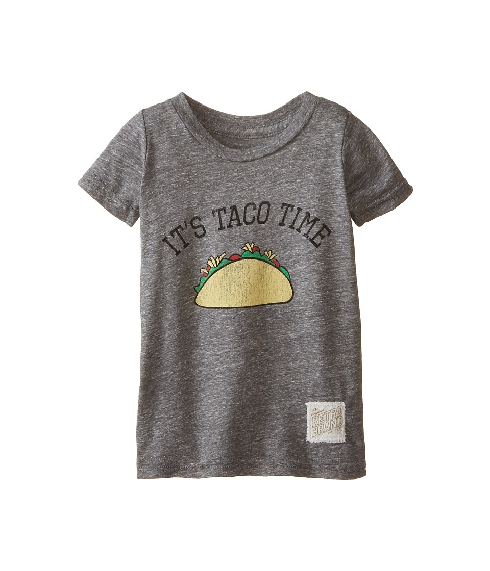 The Original Retro Brand Kids - Taco Time Short Sleeve Tee (Toddler) (Streaky Grey) Boy