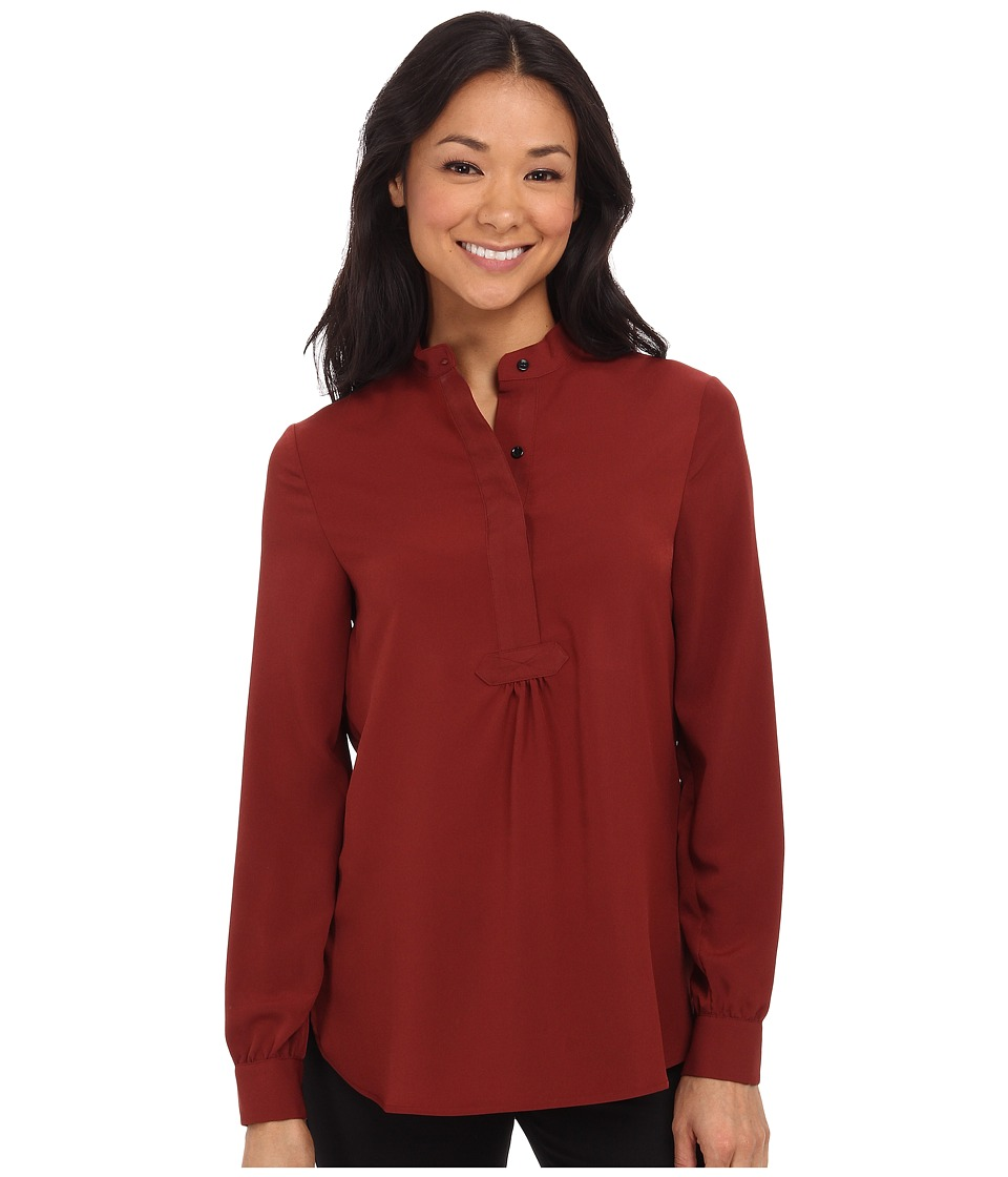 Anne Klein - Organza Trim Popover Tunic (Hickory) Women's Clothing