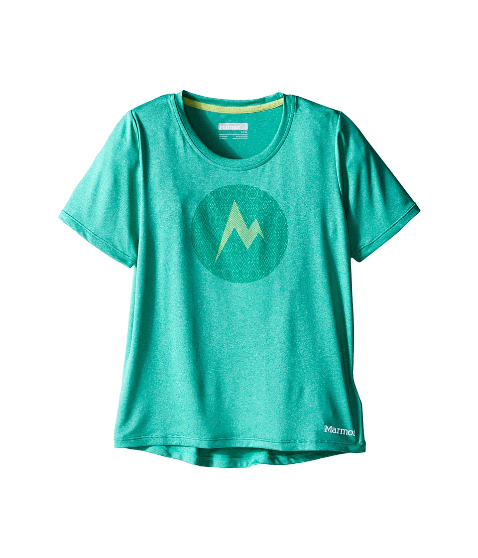 Marmot Kids - Post Time Tee S/S (Little Kids/Big Kids) (Crystal Green Heather) Girl's Short Sleeve Pullover
