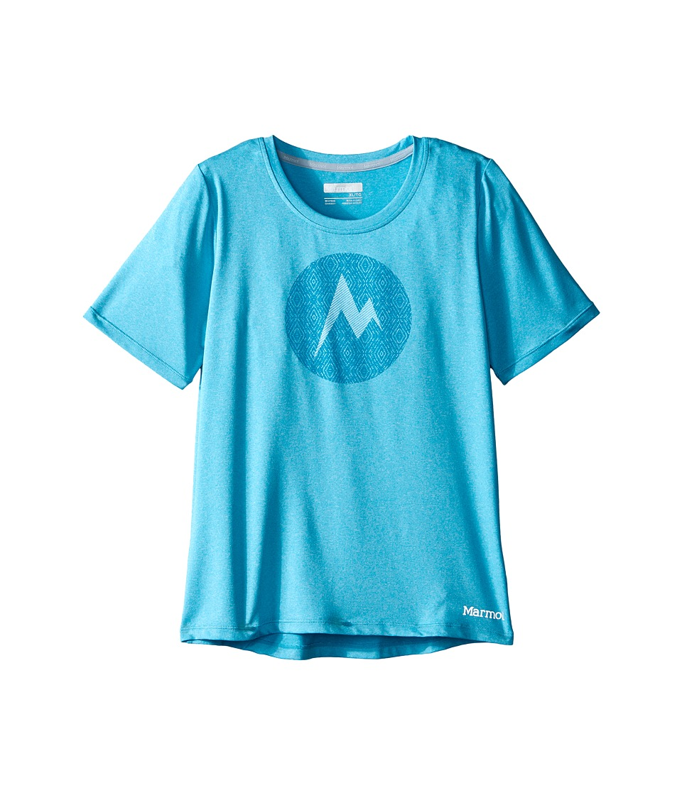 Marmot Kids - Post Time Tee S/S (Little Kids/Big Kids) (Light Aqua Heather) Girl's Short Sleeve Pullover