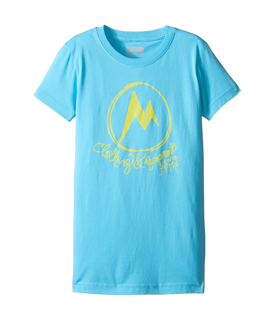 Marmot Kids - Heirloom Short Sleeve Tee (Little Kids/Big Kids) (Light Aqua) Girl's T Shirt