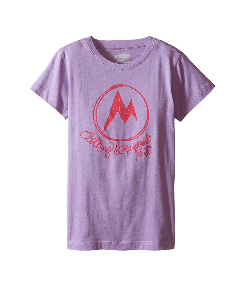 Marmot Kids Heirloom Short Sleeve Tee (Little Kids/Big Kids) (Lavendar Haze) Girl