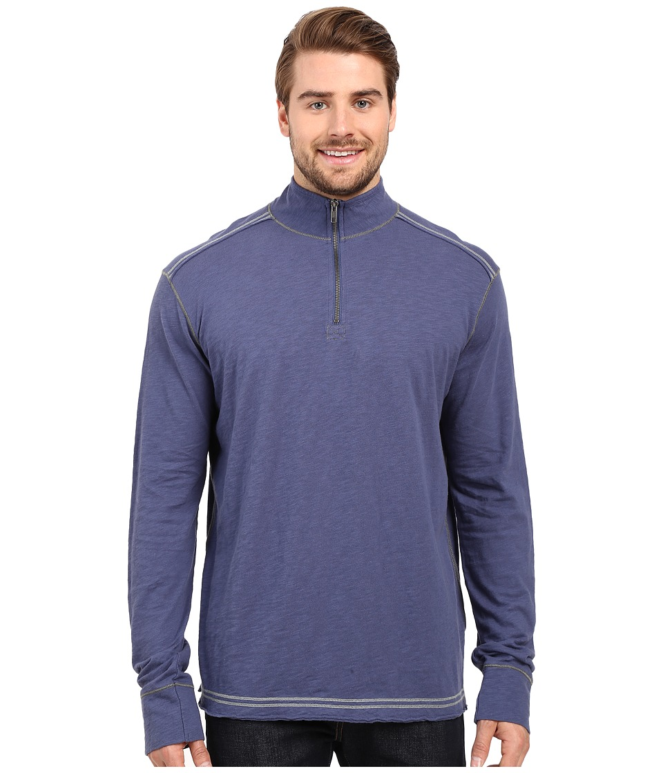 Ecoths - Black Rock 3/4 Zip Shirt (Nightshadow) Men's Long Sleeve Pullover