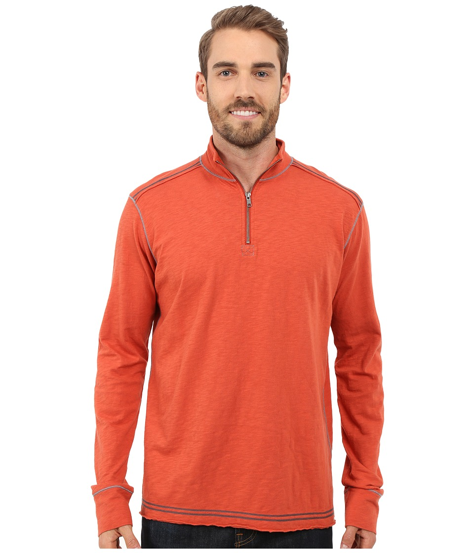 Ecoths - Black Rock 3/4 Zip Shirt (Tabasco) Men's Long Sleeve Pullover