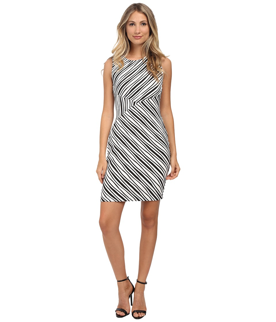 Calvin Klein - Striped Sheath (White/Black) Women's Dress