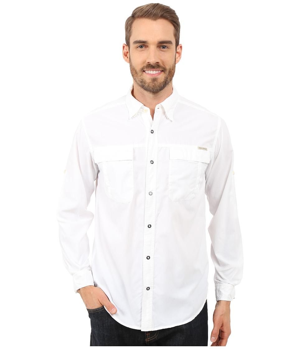 ExOfficio - BugsAway Halo Check Long Sleeve Top (White) Men's Long Sleeve Button Up