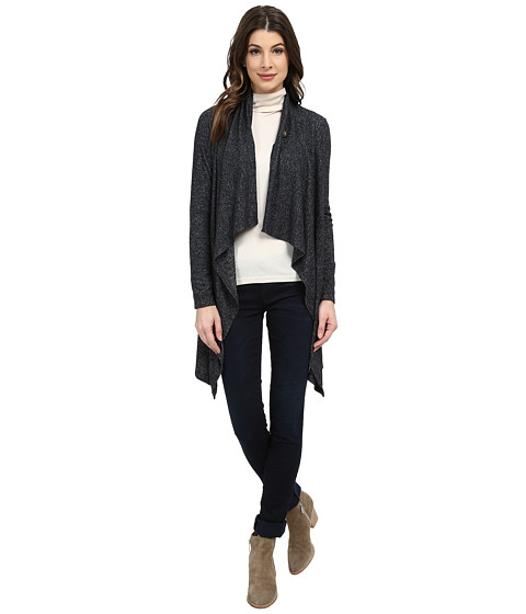 Bobeau - Mid Length One Button Cardigan (Charcoal Grey) Women's Sweater