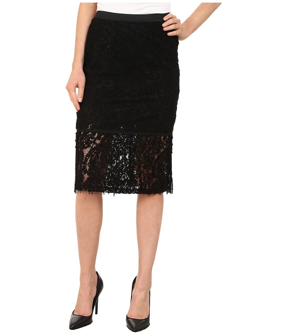 B Collection by Bobeau Lace Fringe Pencil Skirt (Black) Women