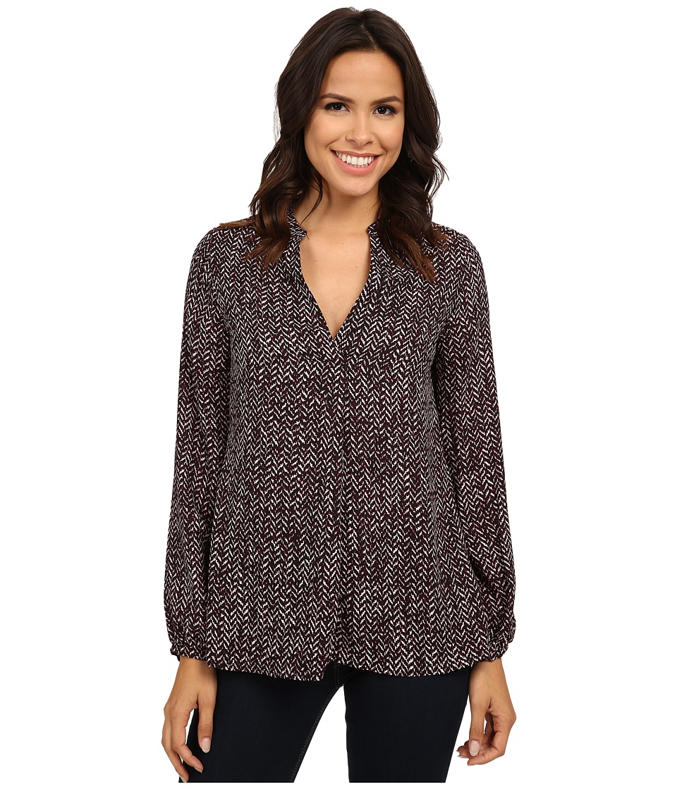 B Collection by Bobeau - V-Neck Printed Blouse (Burgundy) Women's Blouse
