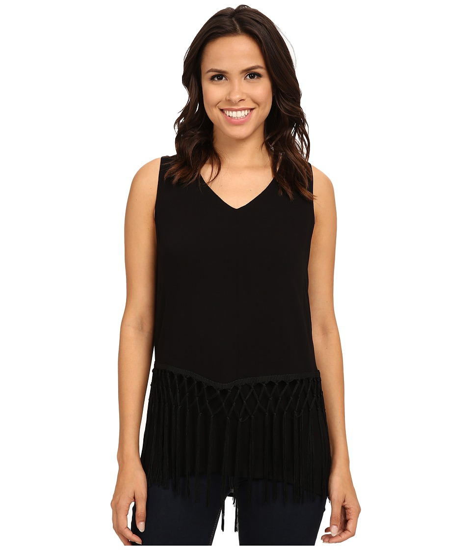 B Collection by Bobeau - Layer Fringe Tank Top (Black) Women's Sleeveless