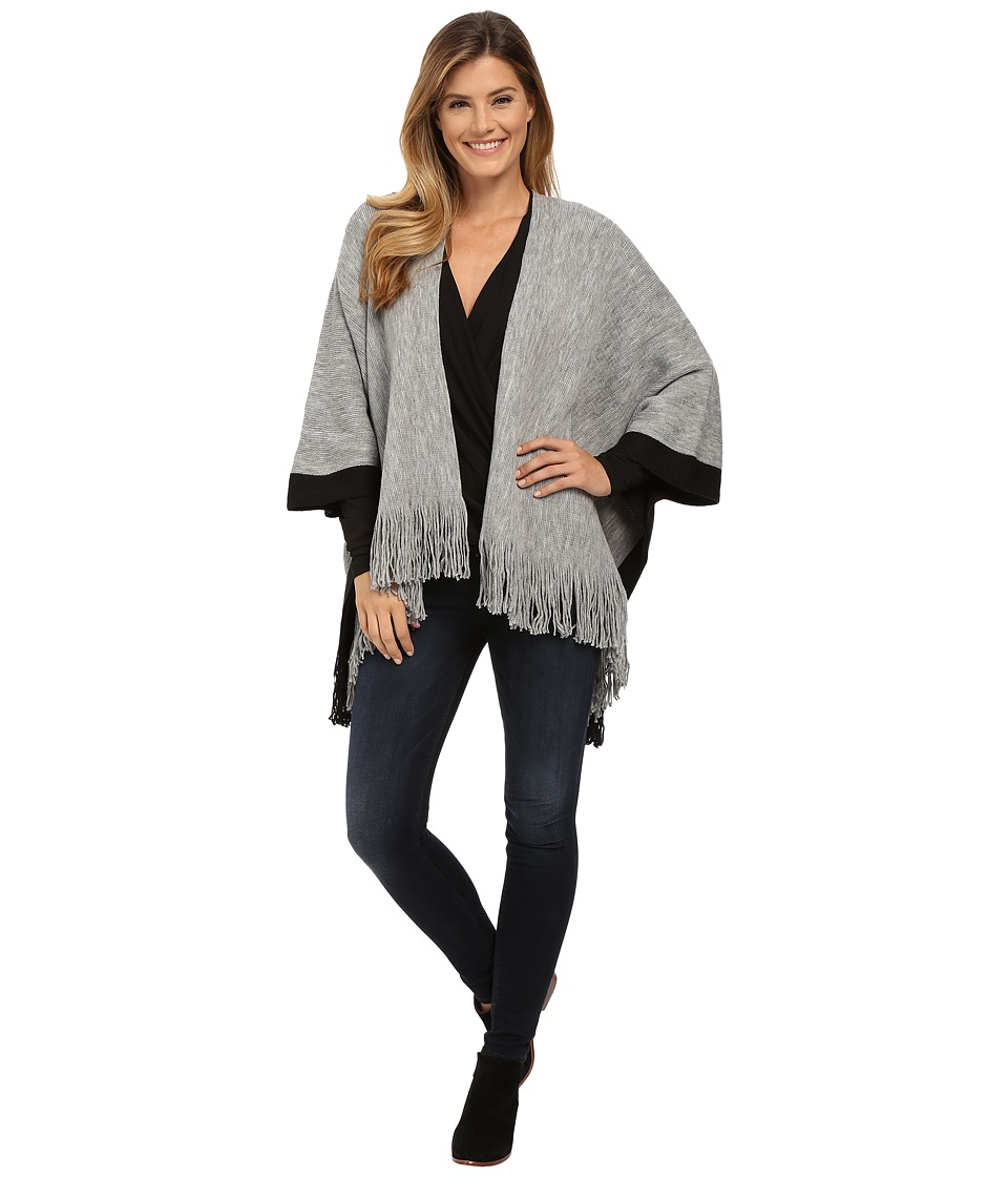B Collection by Bobeau - Fringe Blanket Sweater (Grey) Women's Sweater