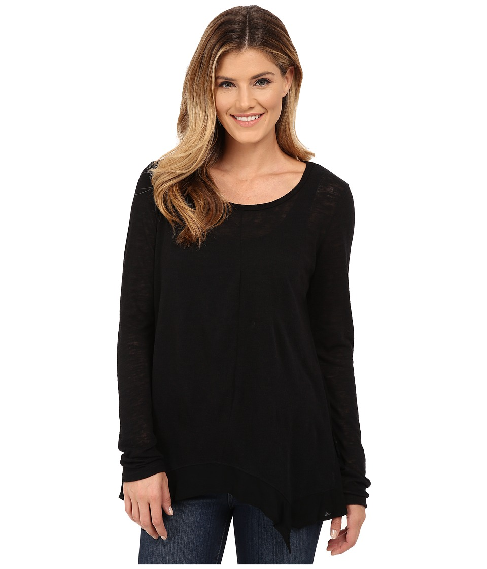 B Collection by Bobeau - Woven Trim Knit Top (Black) Women's Clothing