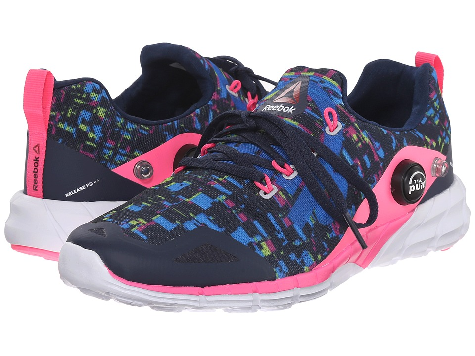 Reebok Kids - ZPump Fusion 2.0 Urban (Little Kid/Big Kid) (Collegiate Navy/Solar Pink/Electric Blue/Yellow) Girls Shoes