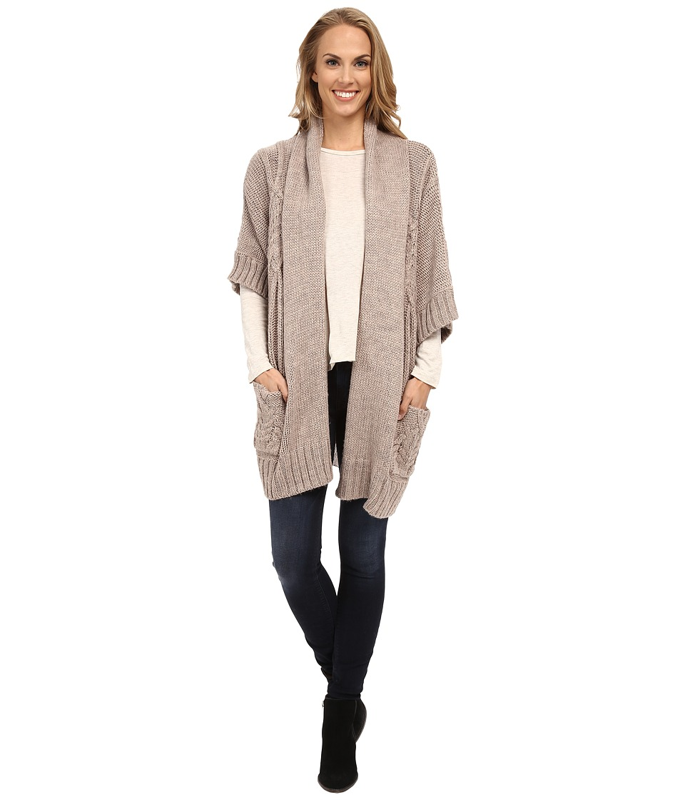 B Collection by Bobeau - Oversized Cable Cardigan (Natural) Women