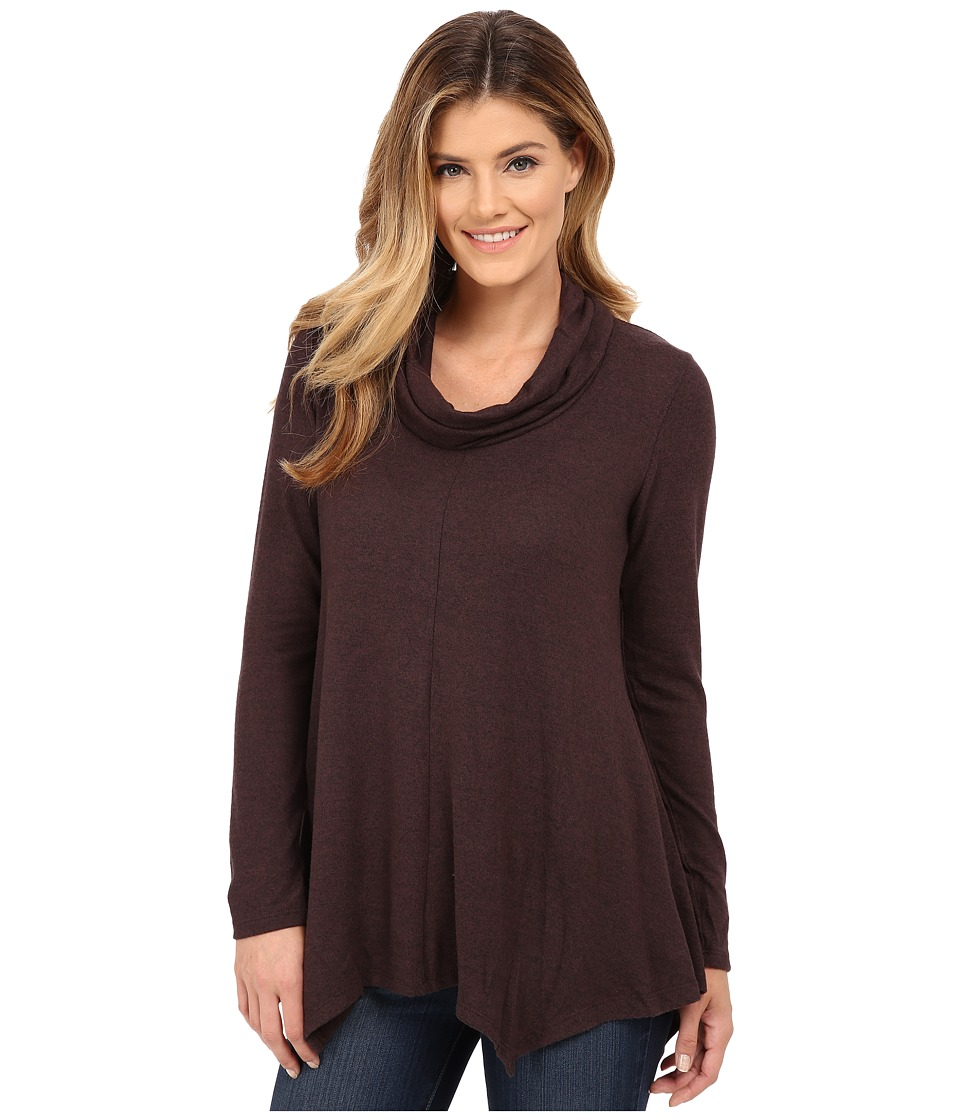 B Collection by Bobeau - Brushed Cowl Neck Tunic (Eggplant) Women's Clothing