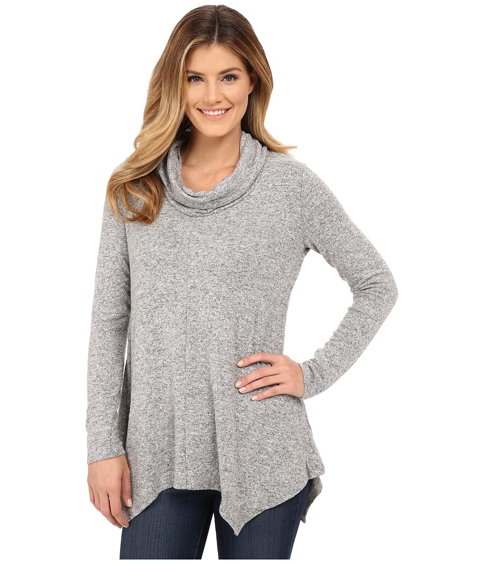 B Collection by Bobeau - Brushed Cowl Neck Tunic (Heather Grey) Women's Clothing