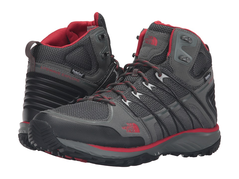The North Face - Litewave Explore Mid WP (Sedona Sage Grey/Pompeian Red (Prior Season)) Men's Hiking Boots