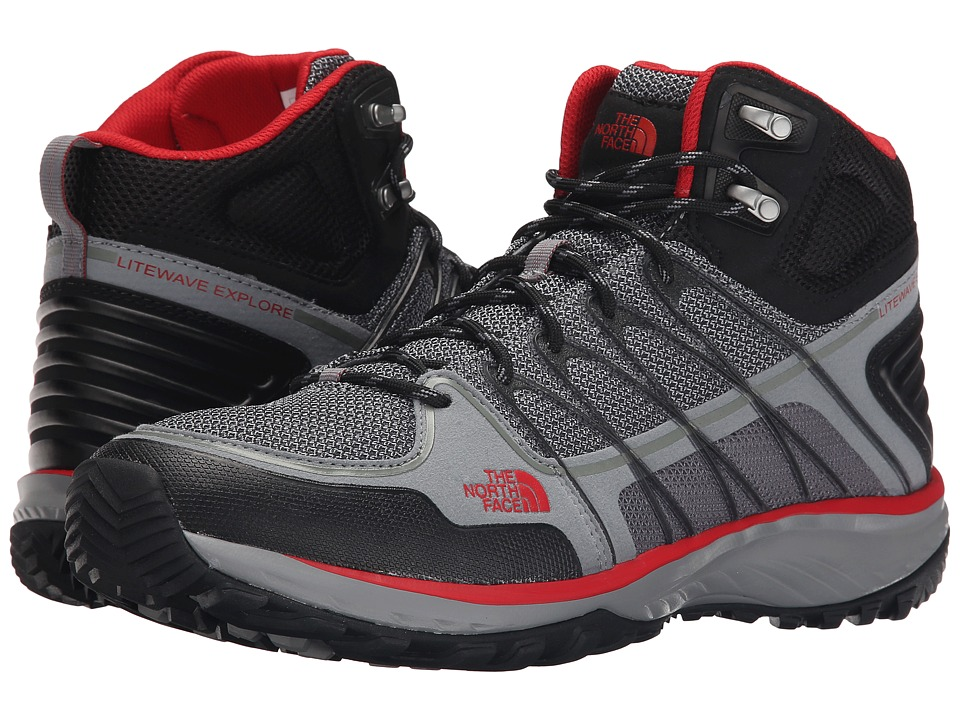 The North Face - Litewave Explore Mid (Monument Grey/Pompeian Red) Men's Hiking Boots