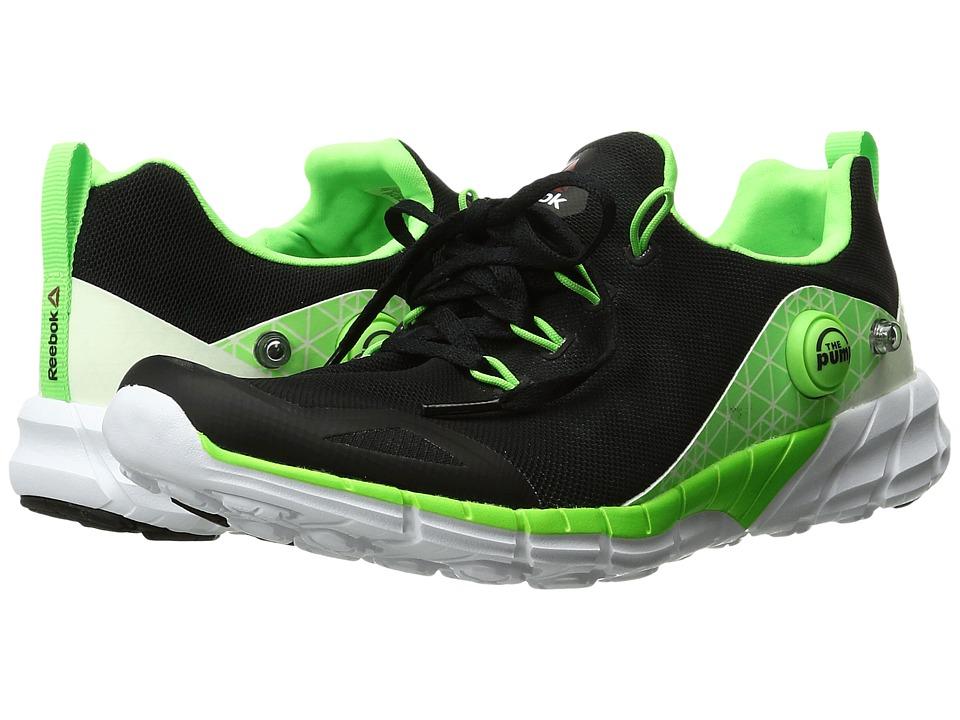 Reebok Kids - ZPump Fusion 2.0 Glow (Little Kid/Big Kid) (Black/Solar Green/White/Gravel) Boys Shoes