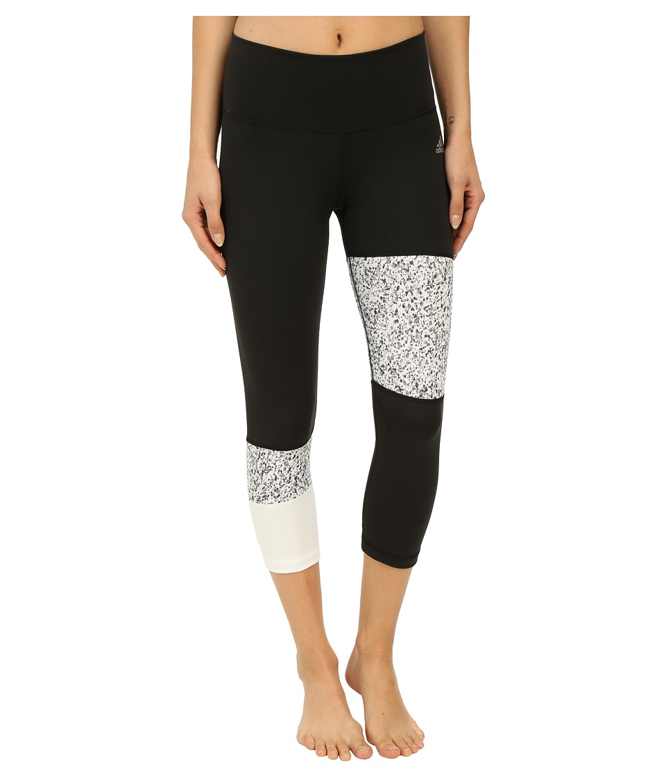 adidas - Performer Mid Rise 3/4 Tights w/ Terrazo Print (Black/White/Matte Silver) Women's Casual Pants