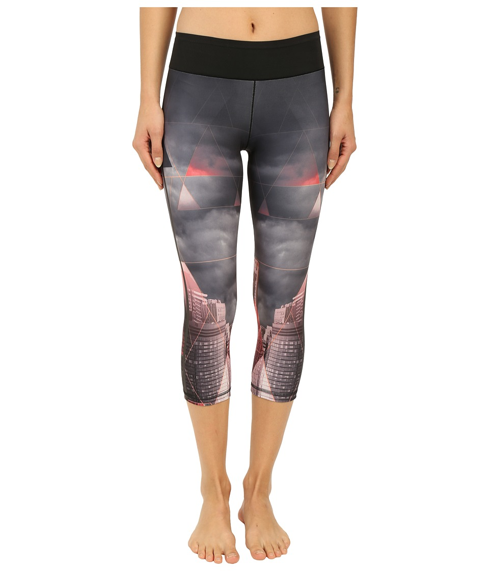 adidas - Workout Mid Rise 3/4 Tights w/ City Attack Print (Black) Women's Casual Pants