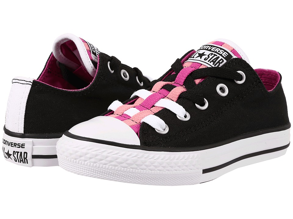 Converse Kids - Chuck Taylor All Star Loopholes Ox (Little Kid/Big Kid) (Black/Plastic Pink/Daybreak Pink) Girls Shoes