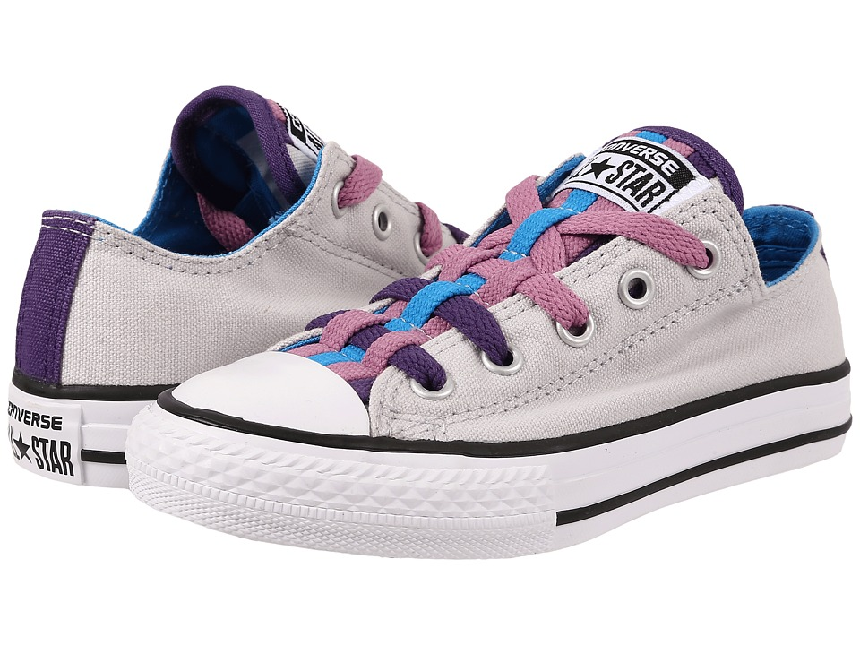 Converse Kids - Chuck Taylor All Star Loopholes Ox (Little Kid/Big Kid) (Mouse/Spray Paint Blue/Showtime Purple) Girls Shoes