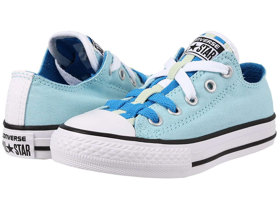 Converse Kids - Chuck Taylor All Star Loopholes Ox (Little Kid/Big Kid) (Ambient Blue/Spray Paint Blue/Pistachio Green) Girls Shoes