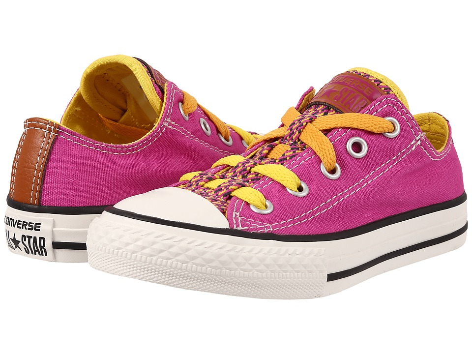 Converse Kids - Chuck Taylor All Star Loopholes Ox (Little Kid/Big Kid) (Plastic Pink/Aurora Yellow/Solar Orange) Girls Shoes