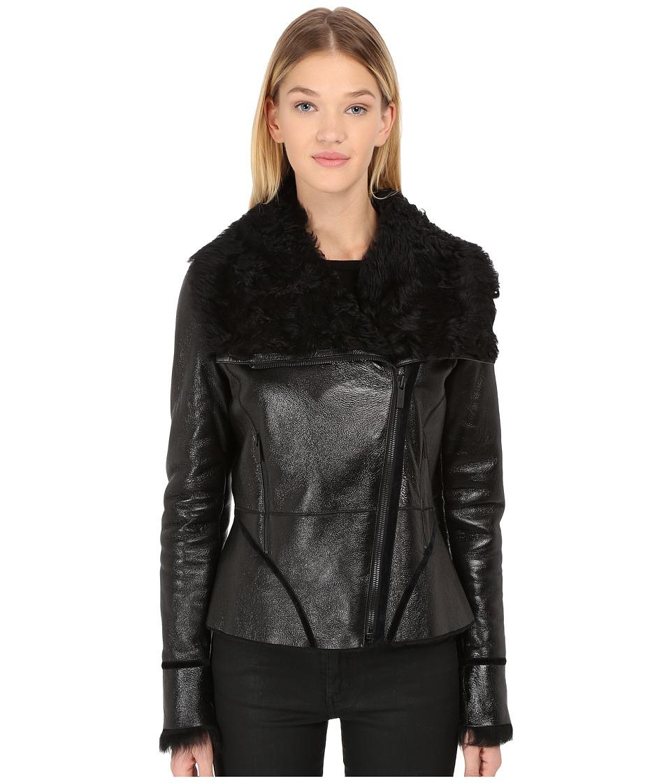 ZAC Zac Posen - Ophelia Sherling with Toscana Leather Collar (Patent Onyx) Women's Coat