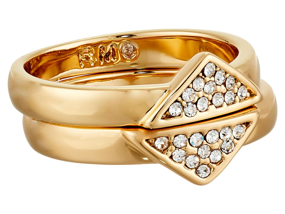 Rebecca Minkoff - Set of Two Triangle Band Ring (Gold/Crystal) Ring