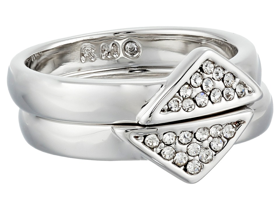 Rebecca Minkoff - Set of Two Triangle Band Ring (Rhodium/Crystal) Ring