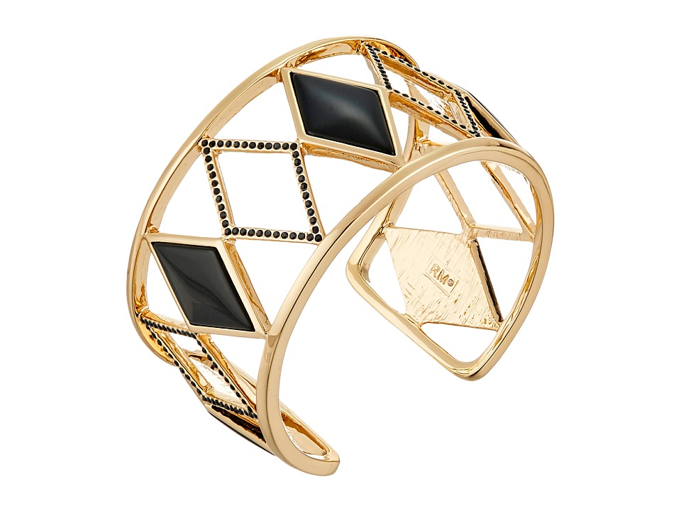 Rebecca Minkoff - Diamond Cutout Cuff Bracelet (Gold/Black) Bracelet