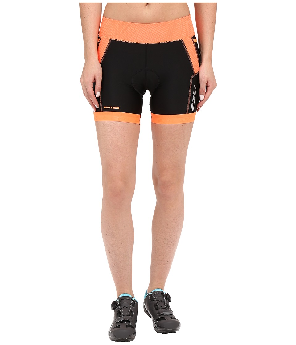 2XU - Perform 4.5 Tri Shorts (Black/Sunburst Orange Print) Women's Shorts