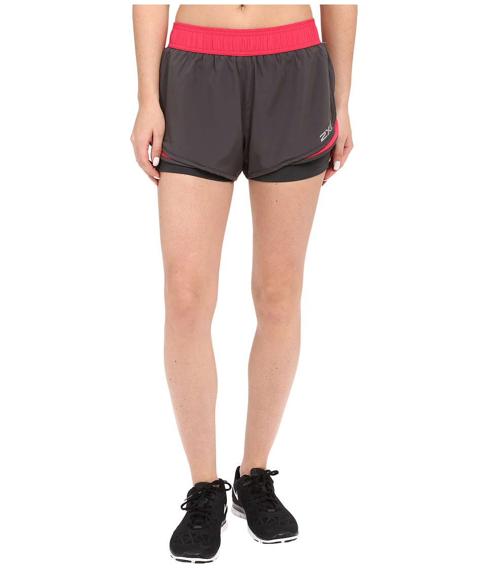 2XU - Pace 2-in-1 Shorts (Ink/Cherry Pink) Women's Shorts