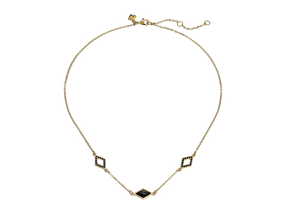 Rebecca Minkoff - Three Diamond Necklace (Gold/Black) Necklace