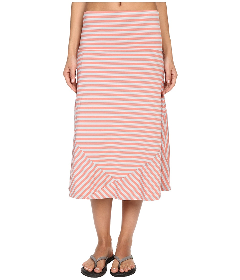 ExOfficio Wanderluxtm Stripe Convertible Skirt (Hot Coral) Women
