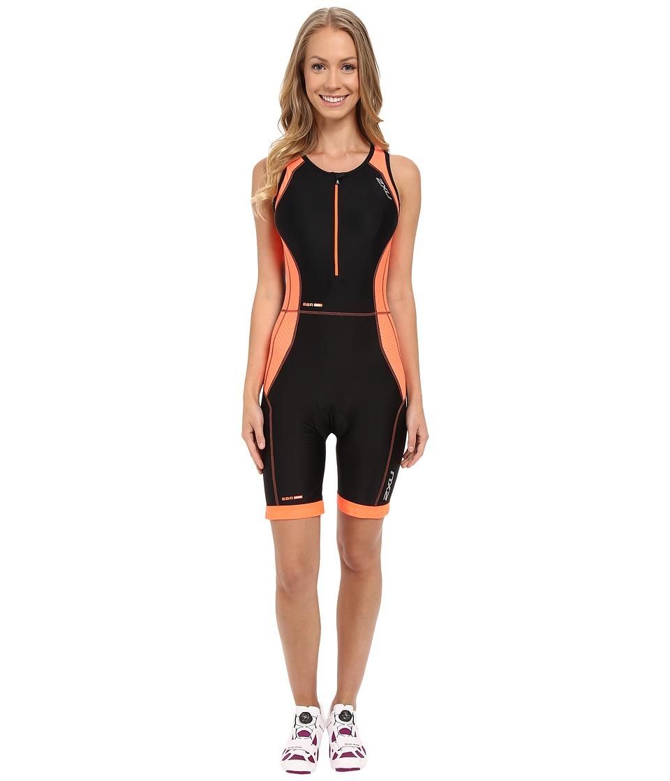 2XU - Perform Trisuit (Black/Sunburst Orange Print) Women's Clothing
