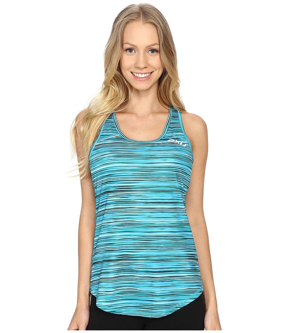 2XU - Ice X Singlet (Printed Capri Blue/Carpi Blue) Women's Clothing